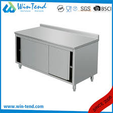 kitchen stainless steel cabinet metal work table with adjule shelf