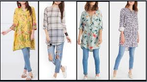 Kurta Designs To Wear With Jeans Latest 2017 Trendy Kurtis Designs Long Shirt With Jeans Long Kurtis For Daily Wear