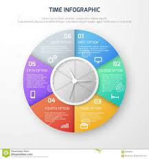 Clock Chart Template Time Schedule Vector Infographic With Clock And Watch Steps