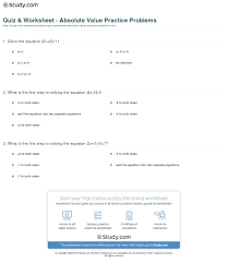 print solving absolute value practice problems worksheet