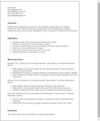 Maintenance Resume Template Professional General Maintenance Worker  Templates To Showcase Your Ideas