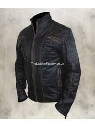 black rivet leather jacket with distressed faded seams