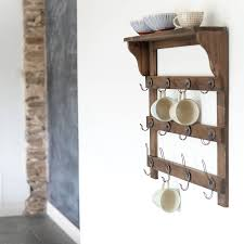 wall mounted vintage wooden shelf unit with 12 hooks vintage shabby chic 60cm