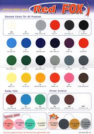 Bosny Spray Paint Color Chart Red Fox General Paints