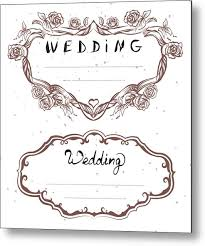 Wedding Title Wedding Title Floral Frame Wedding Invitation Lettering Text Greeting Card Metal Print