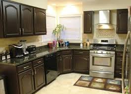 dark wood kitchen cabinets. Delighful Dark Jet Black Wood Cabinet Paint Color Ideas For Traditional Kitchen Design  With Stainless Steel Stove And Shining Granite Top Dark Cabinets