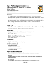 S Sample Resume For Logistics Manager In India Free Assistant