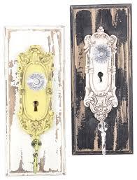 painted distressed wood vintage look ornate glass door knob wall hooks set of 2 farmhouse wall hooks by mary b decorative art