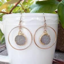 gray druzy earrings gold chandelier drusy hoop quartz crystal ro