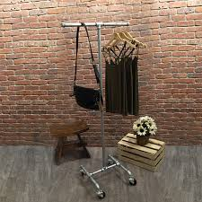 Perfect Industrial Pipe Rolling Clothing Rack   Galvanized   2 Way