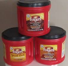 Folgers Coffee Chart 3 Empty Coffee Cans 1lb 11 8 Oz Storage Craft Garage Kitchen Folgers Red Euc Ebay