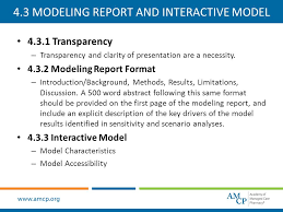 amcp format for formulary submissions ppt  4 3 modeling report and interactive model