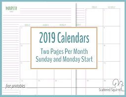 Printable Free Monthly Calendars The Two Pages Per Month 2019 Calendars Are Ready