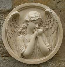 sleeping angel round wall plaque garden