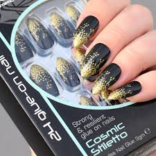 Royal Umělé Nehty černo Zlaté S Lepidlem Cosmic Stiletto Glue On False Nails Tips 24ks S Lepidlem 3g