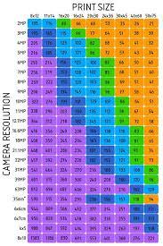 Standard Photo Print Sizes Chart Google Search
