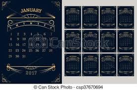 Vector Of Calendar 2017 Year 12 Month Calendar With Gold Vintage Ornamental Frame Week Start At Sunday