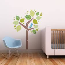 trendy peas fabric removable reusable wall decals tree bir 3 colour choices
