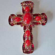 rare vintage verified juliana red pink rhinestone cross pendant brooch 1788288646