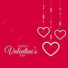 Valentine Day Card On Red Background Pink Heart Pink Love
