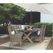 grey wicker outdoor dining sets. home decorators collection naples grey wicker all-weather patio wingback chair with navy cushions (set of 2) outdoor dining sets w