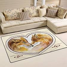welllee area rug couple kissing foxes heart shaped frame floor rug non slip doormat