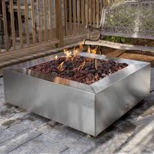 alpine flame inch stainless steel square fire pit  natural gas