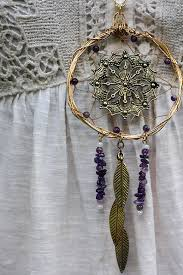 Wire Wrap Dream Catcher Tutorial Large Gold Wire Wrapped Amethyst Dream Catcher Necklace on Etsy 28
