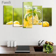 fruit lemon juice green flowers canvas painting modern wall paintings for kitchen wall picture paint on