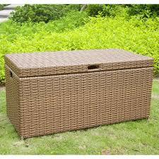 jeco wicker patio storage deck box in honey