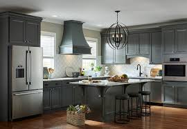 blue gray kitchen cabinets and island