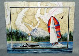 Betty Vestuto Chart Art Print Sailing Pacific Nw Puget Sound