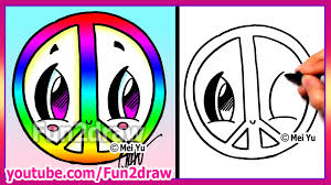 Peace Sign Bedroom Rainbow Peace Sign How To Draw Easy Cartoons Fun2draw Drawings