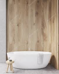 bathroom with wooden walls bathtub and chair with two bottles of care s concept of care mock up 3d rendering photo by denisismagilov
