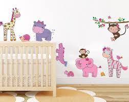 girly jungle animals wall art decor baby safari wall stickers removable pee stick baby girl s on jungle animal wall art with girly jungle animals wall art decor baby safari wall stickers