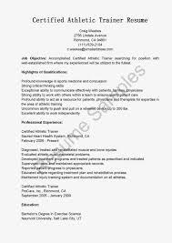 Training Resume with regard to Athletic Trainer Resume