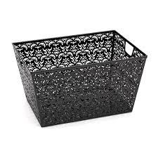 office storage baskets. Realspace Brocade Storage Basket Black, Store Your Office Essentials And Easily Transport Them In This Whimsical With Handles At Depot Baskets G