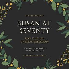Black And Gold Elegant 70th Birthday Invitation Templates
