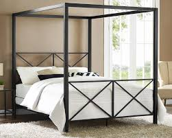 white shag rug in bedroom. Elegant Bedroom Design With Dark Metal Canopy Bed And White Bedding Plus Shag Rugs Rug In N