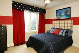 Amazing American Bedroom Design Comes With The Red, White And Blue Colors :  Brilliant Use