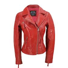 used women s red leather jackets womens vintage slim fitted soft real leather las biker