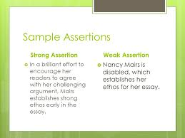 paragraph structure  an assertion must  indicate the  3 sample assertions