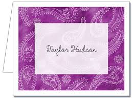 purple note cards personalized note cards light purple paisley thank you notes
