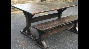 Trestle table with bench Reclaimed Oak How To Build Trestle Farmhouse Table Gold Hill Redwood How To Build Trestle Farmhouse Table Youtube