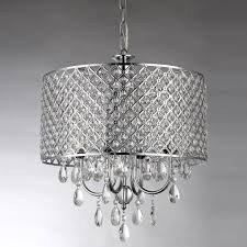 marya 4 light round drum crystal chandelier ceiling fixture chrome finish 1 of 10only 1 available