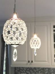 crystal pendant lighting for kitchen. Crystal Pendant Lights Over A Peninsula Bring Touch Of Glam To This Transitional Kitchen. Lighting For Kitchen Pinterest