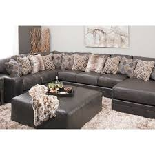picture of denali 3 piece italian leather sectional with raf chaise