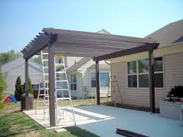 Exterior:Black Painted Woode Pergola Roofing For Bakyard Landscaping On  White Concrete Flooring Black Painted