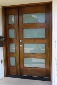 modern wood and glass front door with satin glass