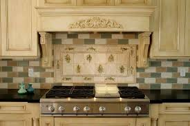Decorative Tile Inserts Kitchen Backsplash Neutral Colored French Country Kitchen Backsplash With Brick Tiles 96